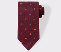 Burgundy Embroidered Dice Motif Silk Tie