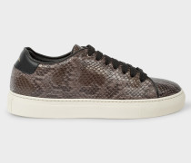 Grey Snake-Effect Leather 'Basso' Trainers