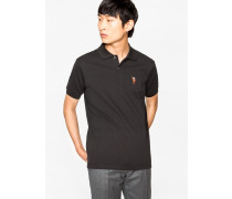 Slim-Fit Black Cotton-Piqué Polo Shirt With Embroidered Monkey