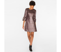 Pink And Gold 'Tapestry' Jacquard Dress With Fluted Sleeves