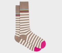 Brown And Taupe Two-Stripe Socks