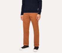 Standard-Fit Burnt Orange Cotton-Twill Stretch Chinos