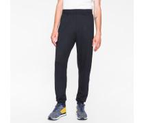 Navy Cotton-Blend Sweatpants With Black Side Panels