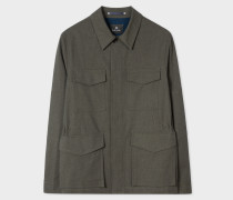 Charcoal Grey Stretch-Cotton Twill Field Jacket