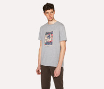 Grey Marl Organic-Cotton 'Monkey Stamp' Print T-Shirt
