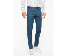 Slim-Fit Petrol Stretch-Cotton Twill Trousers