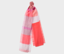 Red 'Summer Stripe' Silk-Blend Scarf