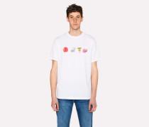 White T-Shirt With 'Skulls And Zebra' Print