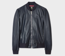 Dark Navy Leather Bomber Jacket