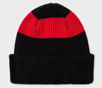 Black Ribbed Lambswool Beanie Hat With Red Stripe