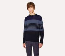Navy Colour-Block Striped Merino-Wool Sweater
