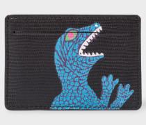 Black 'Dino' Print Leather Credit Card Holder