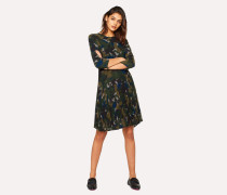 Khaki Camouflage Dress With Pleated Skirt