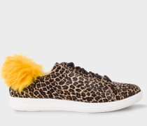 Leopard Print Calf Hair 'Lapin' Trainers With Faux-Fur
