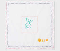 White Doodle Pattern 'Hello' Pocket Square