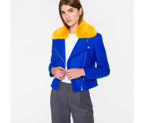 Blue Wool-Cashmere Biker Jacket With Yellow Collar