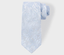 Light Blue Tonal Floral Embroidery Narrow Silk Tie