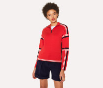 Red Knitted Cotton Half-Zip Sweater With Contrasting Stripes