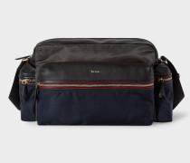 Navy Messenger Bag With Black Leather Trims