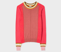 Pink Colour-Block Cotton Sweater
