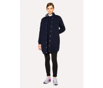 Navy Wool And Cotton-Blend Quilted Coat