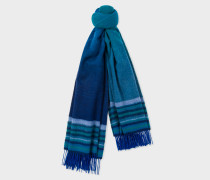 Blue Ombré Lambswool And Cashmere Scarf