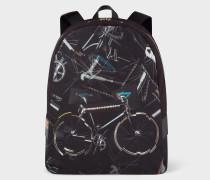 Canvas 'Paul's Bike' Print Backpack