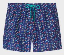 Navy 'Fish' Print Swim Shorts