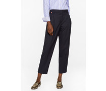 A Suit To Travel In -  Tailored-Fit Navy Wool Double-Pleat Trousers
