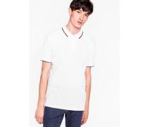 White Cotton-Piqué Polo Shirt With Collar Tipping