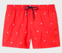Red Swim Shorts With 'Star' Embroidery