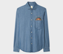 Slim-Fit Blue Chambray Shirt With Embroidered 'Psychedelic Sun'