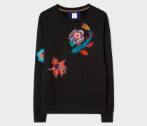 Black Loopback-Cotton Sweatshirt With 'Ocean' Embroidery