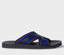 Navy Leather 'Pin' Sandals