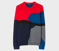 Red Colour-Block Textured-Knit Sweater