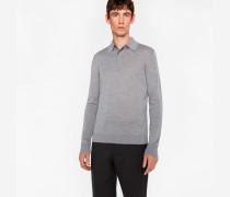 Light Grey-Marl Merino Wool Long-Sleeve Polo Shirt