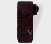Chocolate Brown Embroidered 'Monkey' Knitted Tie