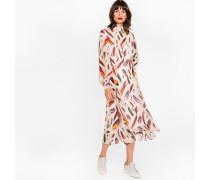 Light Pink Silk Midi Dress With 'Feather' Print