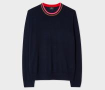 Navy Merino Wool Sweater With Contrast Collar