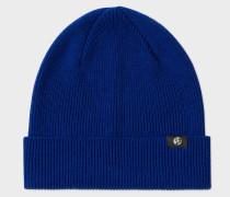 Cobalt Blue Merino Wool Beanie Hat