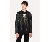 Heavy Grained-Leather Asymmetric-Zip Biker Jacket