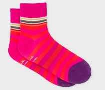 Pink And Red Stripe Cycling Socks