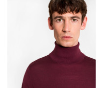 Burgundy Merino Wool Roll Neck Sweater