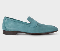 Turquoise Suede 'Glynn' Penny Loafers