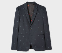 Slim-Fit Dark Navy Floral-Jacquard Buggy-Lined Blazer