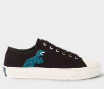 Black Canvas 'Kinsey' Trainers With 'Dino' Print