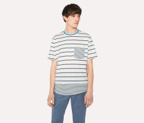 White Mixed-Stripe Organic-Cotton T-Shirt