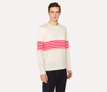 Slim-Fit Ecru Long-Sleeve T-Shirt With Red Stripes