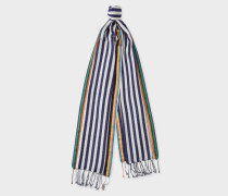 Navy And White Stripe Silk-Blend Scarf