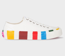 White Leather 'Nolan' Trainers With Multi-Coloured Soles